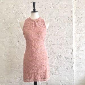 [love, Fire] blush pink high-neck lace dress
